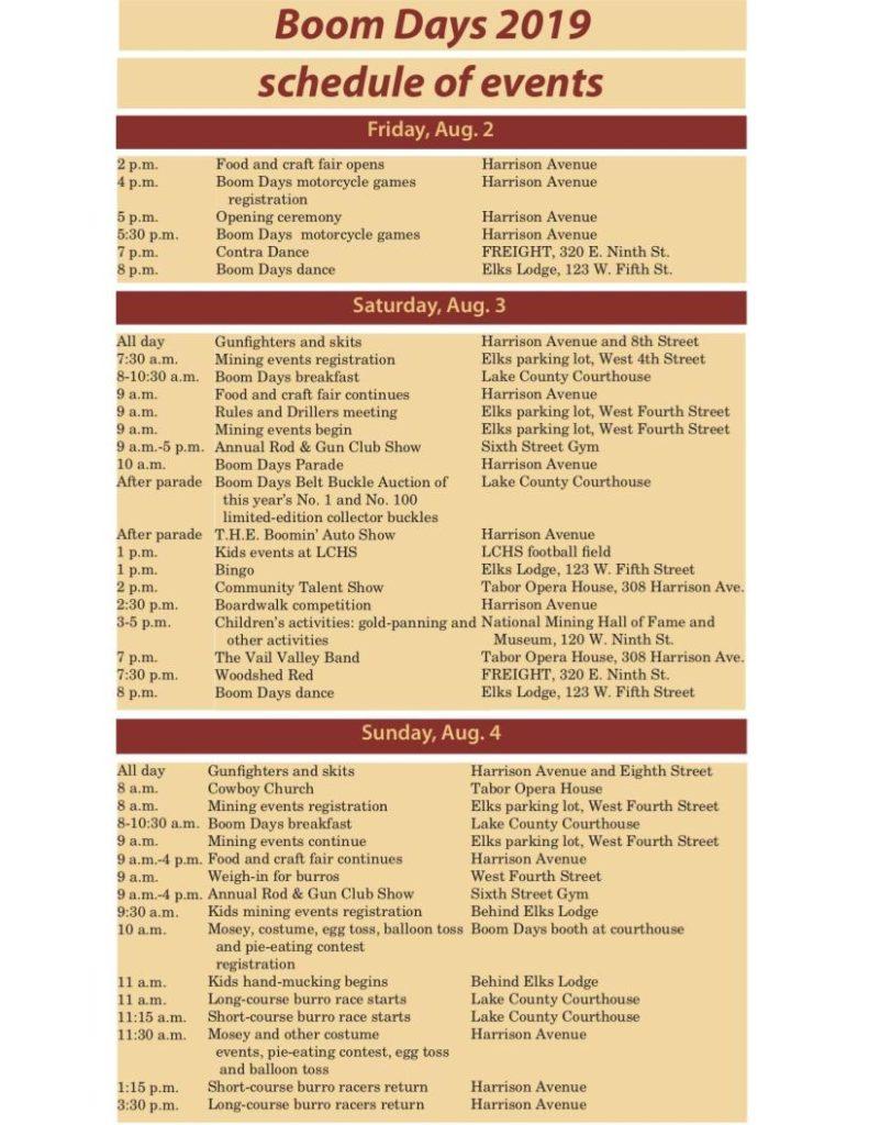 Schedule – Leadville Boom Days